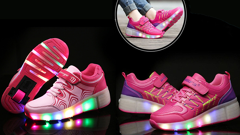 Glowing Kids Sneakers with wheels